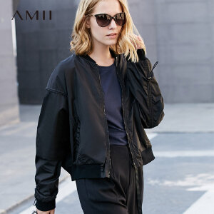 Amii极简bf港风秋2018新女外套黑色棒球服飞行员夹克短上衣.