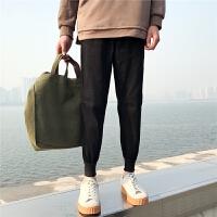 港风春季新款男士休闲裤韩版纯色修身小脚裤百搭青少年哈伦裤子潮