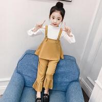 女童套装春秋新款洋气春装中大童儿童小女孩时髦吊带三件套潮
