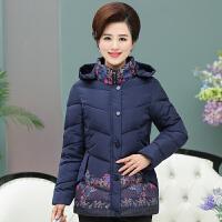中老年女装秋冬装棉衣中年妈妈装连帽印花加厚40-50岁外套女