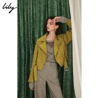 【一口价:399元】 Lily秋新款帅气仿麂皮夹克下摆系带修身短外套女119330C3228