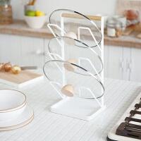 日式铁艺锅盖架多功能沥水放锅盖架子收纳架厨房置物架菜板砧板架 白色