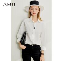 Amii极简气质中长全棉衬衫女2020春新款宽松翻领暗门襟落肩袖上衣