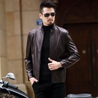 秋冬新款男士真皮皮衣外套韩版修身中青年短款立领休闲皮夹克