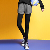 ANN 2016冬新款 运动拼色假两件裤装系带加绒外穿打底裤休闲裤 女