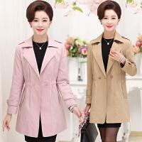 中老年女装春装外套中长款中年妇女妈妈装风衣40-50岁加大码上衣