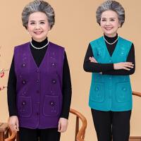 秋冬中老年人女装上衣开衫绣花奶奶背心大码宽松妈妈装马甲女坎肩