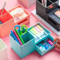 得力多功能时尚笔筒大容量桌面个性创意文具收纳盒韩国学生儿童办公室可爱少女简约北欧大笔桶多格四格放笔的