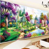 印花十字绣满绣客厅风景欧式花园小屋卧室新款大幅2米棉线丝线