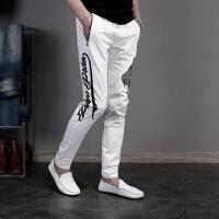 男士白色休闲裤修身小脚个性印花白色男裤青年潮流夏季薄款裤子男【潮流】【超火】 白色