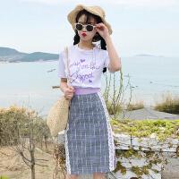~韩版时尚休闲套装夏装甜美订珠紫色字母T恤+半身裙 白T+格子裙