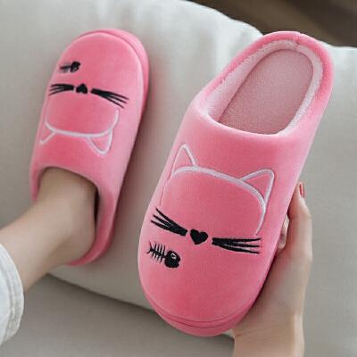 棉拖鞋女冬季卡通可爱家用室内保暖家居防滑加绒毛毛月子情侣棉鞋