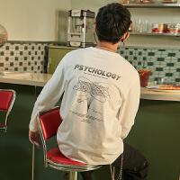 【5.16日-5.18日抢购价:44.5】唐狮秋季新款长袖T恤男后背印花韩版宽松学生打底上衣潮