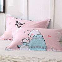 棉儿童枕头套 棉卡通印花枕套单人枕芯套48*74cm一对装 48cmX74cm