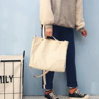 2018新款原创ins斜挎帆布包简约大容量单肩手提包学生书包 米白色