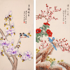凌雪《玉兰双雀,清香久远》DDLX10050x204