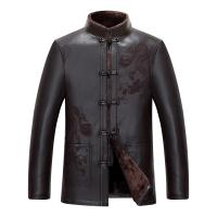 男式绵羊皮皮衣皮草大衣外套中老年唐装中国风皮衣皮毛一体男 深棕色 M