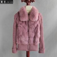 款狐狸毛领兔毛皮草外套马甲外套两用兔毛夹克外套针织衫