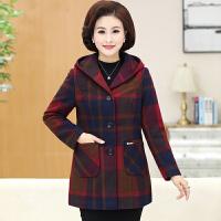 秋冬季新款中老年女装加大加厚呢子大衣女大码妈妈装格子棉衣外套