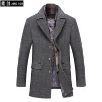 秋冬季中年男士外套加厚羊毛呢大衣中长款呢子夹克爸爸装冬装上衣