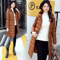 棉衣女中长款2017冬季新款韩版修身显瘦加厚大码外套连帽棉袄