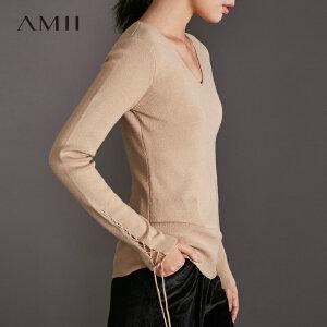 Amii[极简主义]时尚睿智感 V领绑带毛衣女 冬季简洁修身百搭上衣