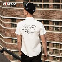 viishow夏装新款短袖衬衫 英伦风纯色短袖衬衣男 纯棉白衬衫