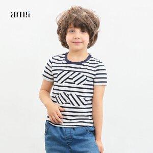 【下单立享5折】amii童装2018春夏新款男童绣布短袖休闲T恤中大童儿童条纹T恤