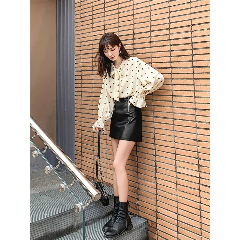 七格格衬衫女设计感小众心机上衣2019新款秋季长袖复古雪纺衬衣潮