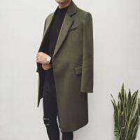 潮男风衣2017冬季中长款呢子大衣男修身青年韩版休闲加厚毛呢外套
