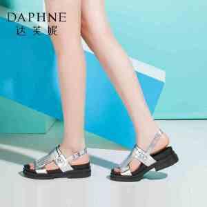 Daphne/达芙妮女鞋夏季撞色流苏厚底舒适女凉拖鞋