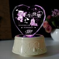 音乐盒 生日礼物 女生 520母亲节礼物送妈妈女友老婆闺蜜情侣结婚纪念创意礼品水晶八音盒抖音 单曲底座 --可爱小熊