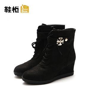 达芙妮旗下鞋柜秋冬款欧美商务圆头系带坡跟短靴女-1