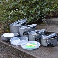 户外锅具野餐锅折叠不锈钢野营炊具便携套锅2-3人野炊用品装备