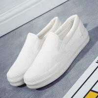韩版女鞋休闲厚底懒人女鞋学生一脚蹬帆布鞋纯色乐福鞋女布鞋黑色板鞋