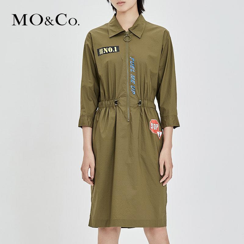 MOCO夏季工装圆环拉链橡筋腰衬衫袖中长款连衣裙女MA172DRS135 满399包邮 拉链半开襟 趣味标语装饰