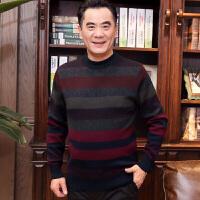 秋冬新款爸爸装毛衣40-50岁中老年圆领羊毛衫中年男士 Mao1215红彩条 0/M