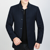 秋冬毛呢外套男短款立领羊毛呢子大衣外套中年宽松休闲爸爸装 藏蓝色 M