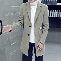 毛呢大衣男中长款韩版英伦风修身帅气学生外套秋冬季青年呢子风衣