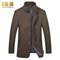 毛呢大衣男中长款韩版尼子中年男装英伦妮子秋季羊毛男士呢子外套 卡其 170/M