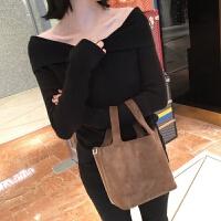 秋冬新款女装韩版时尚针织衫长袖露肩白色毛衣女套头打底衫潮 均码