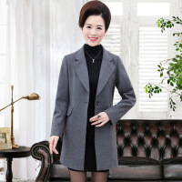 中老年大码时尚秋季新款外套妈妈装羊绒大衣毛呢中年女装羊毛风衣