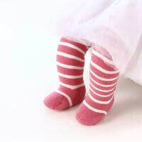 珈楚 冬季精梳棉条纹儿童袜子 全棉加厚毛圈袜宝宝袜 过膝毛圈长筒袜