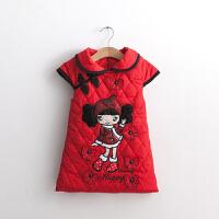拜年服 儿童宝宝夹棉唐装新年装女童装冬装旗袍红色中国风小女孩