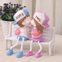 情侣吊脚娃娃结婚礼物小摆件小礼品桌面台面摆件装饰娃娃家居饰品 +公园椅子