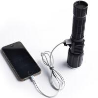 强光手电筒充电t6变焦远射led户外骑行手电筒带USB侧灯警示灯 10W1锂电池1充电器