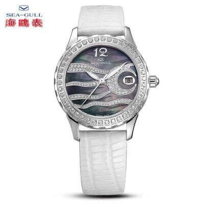 海鸥手表机械表女士镶钻日历皮带自动机械手表时装表女表719.762L可用礼品卡支付