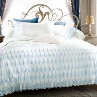 家纺新款 60支贡缎长绒棉四件套水溶花边全纯棉被套床上用品