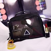 创意时尚化妆包网纱透明手提便携简约旅行化妆品收纳包大容量洗漱包