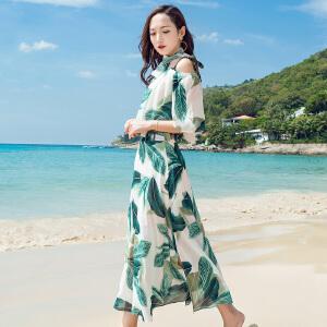 RANJU 然聚2018女装夏季新品新款沙滩裙清爽俩件套旅游度假裙子波西米亚雪纺显瘦半身裙套装